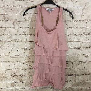 Forever21 Pink ruffle tank top size